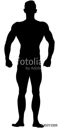 232x500 Real Muscular Athletic Bodybuilder In Relaxed Pose Black