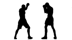 240x135 Kickboxing Two Muscular Athletes In Silhouette. Slow Motion ~ Clip