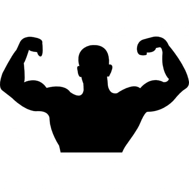 626x626 Male Silhouette Variant Showing Muscles Icons Free Download