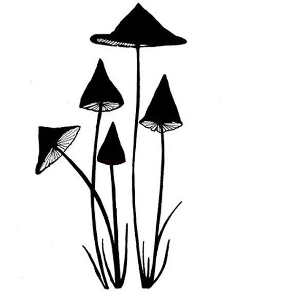 570x570 Lavinia Small Slender Mushrooms Stamp Mushroom Stamp Clear