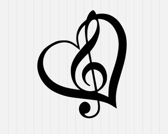 340x270 Music Note With Heart Svg Dxf Eps Png Pdf Download