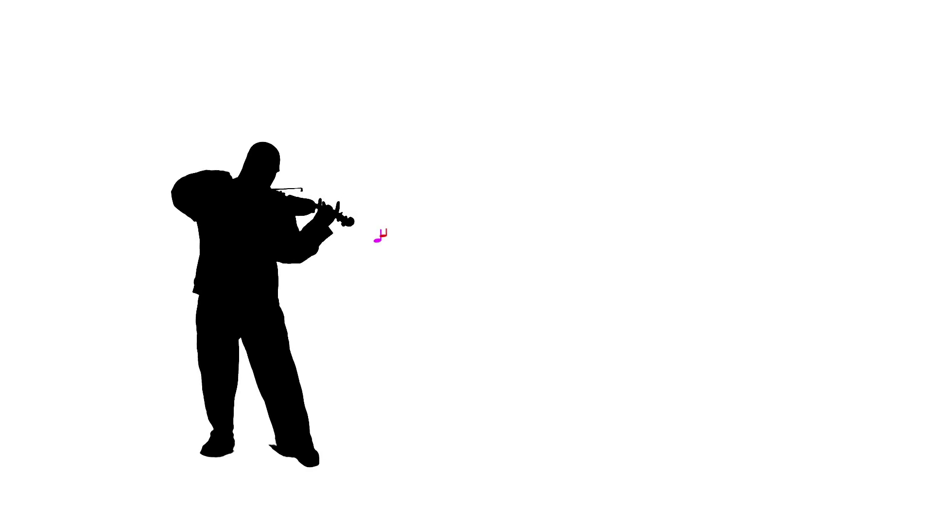 1920x1080 Silhoutted Man Playing The Violin With Colorful Music Notes