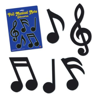 350x350 Foil Musical Notes Silhouette Cutouts Musical