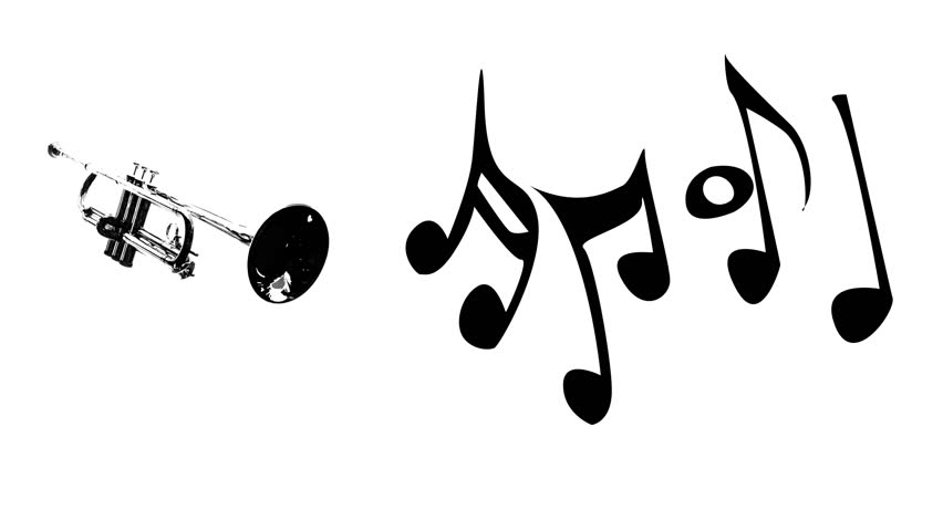 852x480 Trumpet And Dancing Music Notes Silhouette On White Background