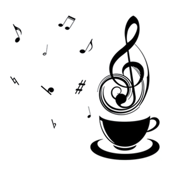 640x640 14.5cm14cm Interesting Coffee With Music Melody Symbol Decor