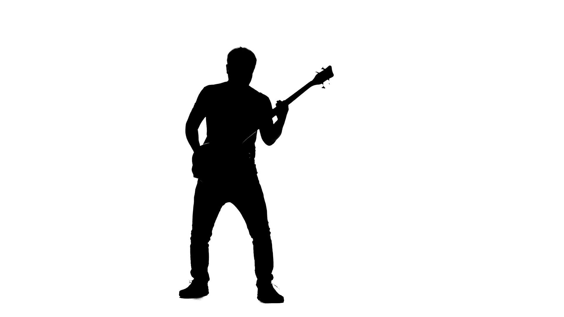 1920x1080 Guitarist Kneel While Playing A Musical Instrument. Silhouette