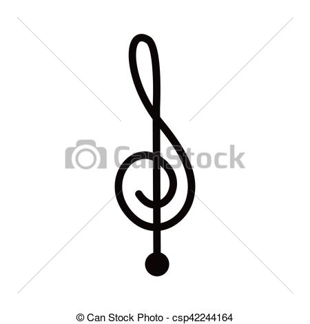450x470 Silhouette Monochrome With Sign Music Treble Clef Vector Clip