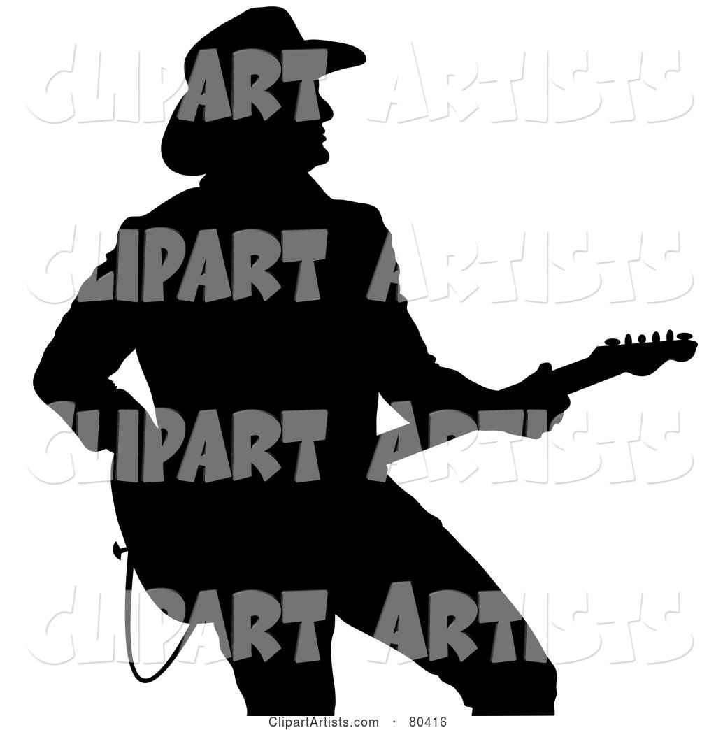 1024x1044 Black Silhouette Of A Country Western Music Guitarist Clipart By