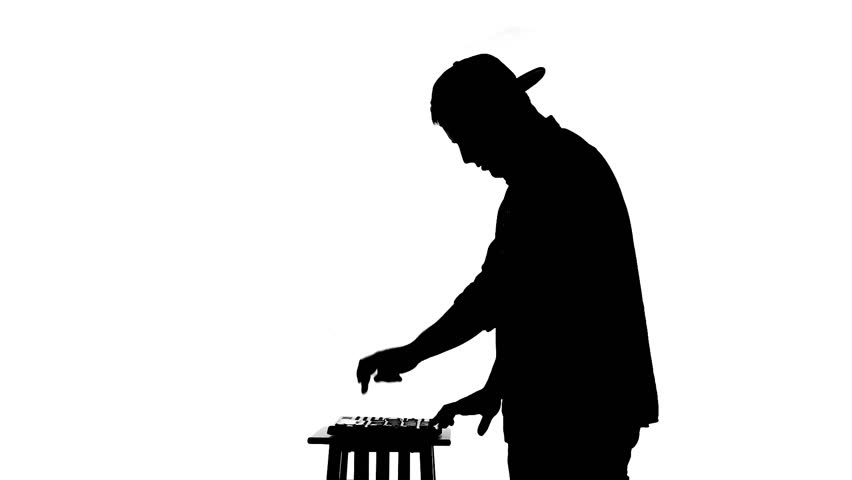 852x480 Black Silhouette Of Dj Mixing Music On A White Background Stock