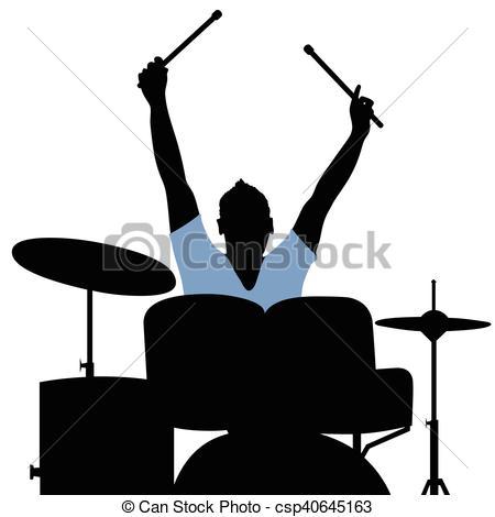 450x470 Man Playing Drumms Silhouette Music Illustration. Man Clip Art