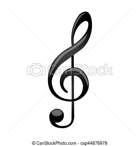 450x470 Monochrome Silhouette With Sign Music Treble Clef Vector