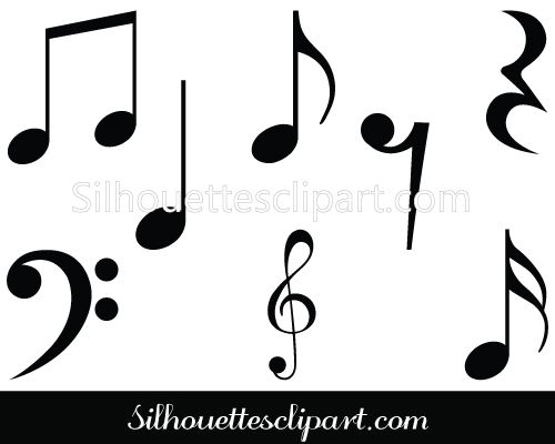 500x400 Music Notes Symbols Silhouette Musical Notes Clipart Paper