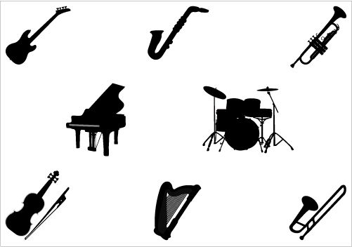 501x352 Music Instruments Silhouette Vector