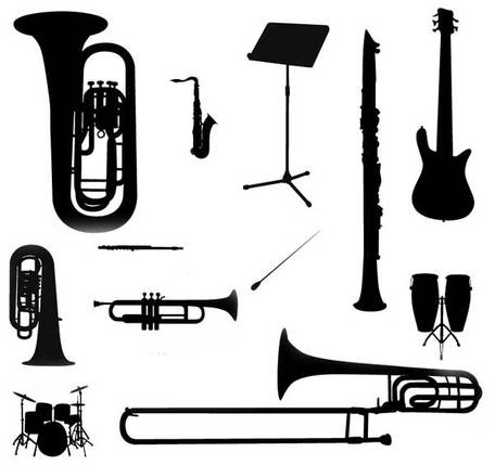 456x429 Music Instruments Silhouette Vector Free, Clipart