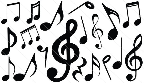 610x350 Music Notes Silhouette Vector (19) Silhouette Clip Art