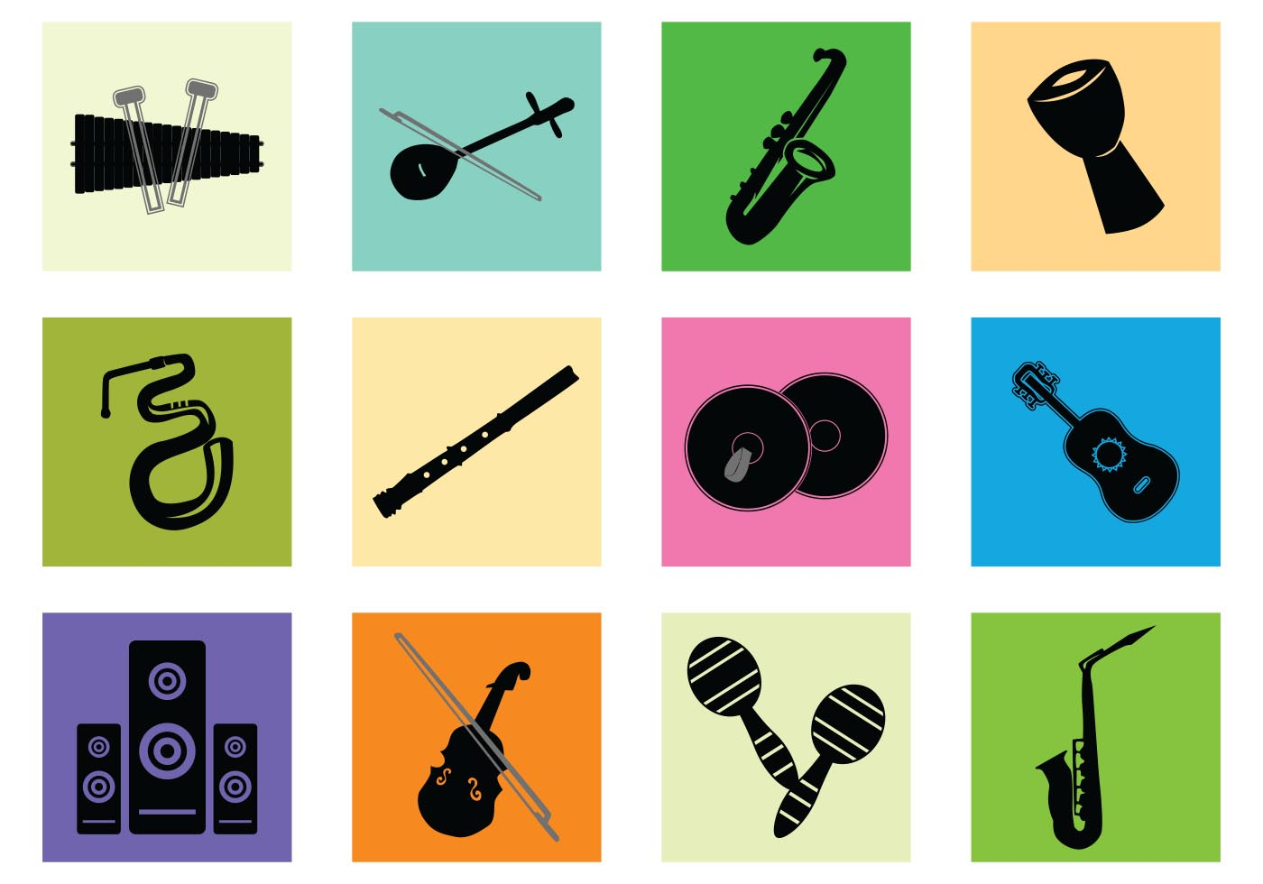 1400x980 Musical Instruments Silhouette Free Vector Art