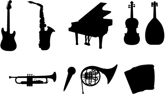 530x305 Musical Instruments Silhouettes Free Vector In Adobe Illustrator