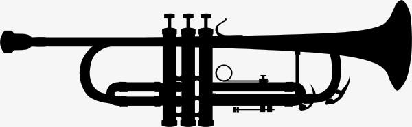 600x186 Trumpet Silhouette Clip Art, Musical Instruments, Sketch, Black
