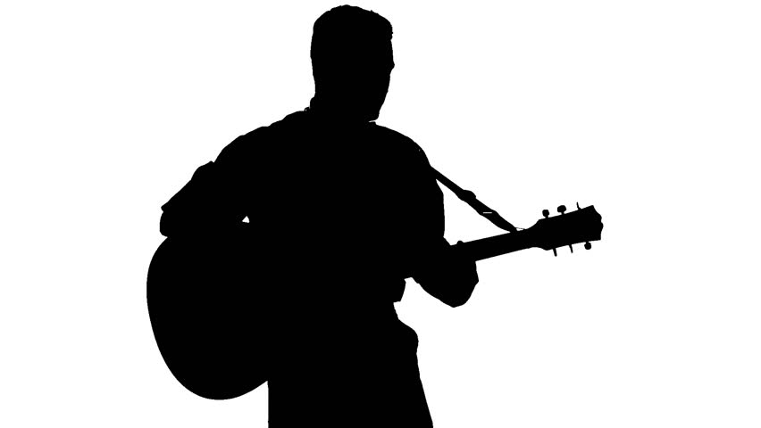852x480 Black Silhouette Of Guy Playing Guitar On White Background Stock