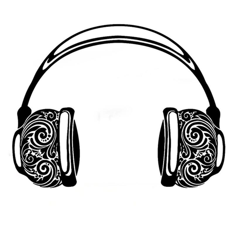 800x800 14.6cm11.2cm Fashion Headphones Musical Silhouette Decor Vinyl Car