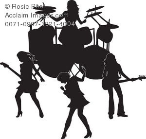 300x286 Art Illustration Of The Silhouette Of An All Girl Band