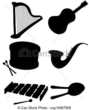379x470 Illustration Of The Six Silhouettes Of Musical Instruments