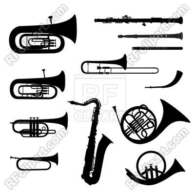 400x400 Musical Instruments Silhouette On White Background Royalty Free