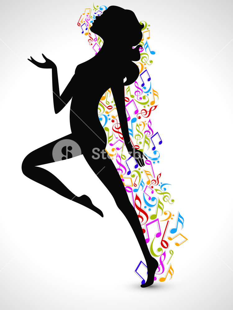 750x1000 Silhouette Of A Dancing Girl With Colorful Musical Notes On Shiny