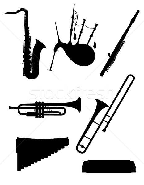 466x600 Wind Musical Instruments Set Icons Black Outline Silhouette Stoc