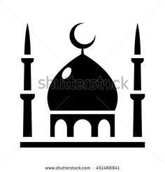 236x246 Vector Cartoon Mosque Building With Date Palms And City Background