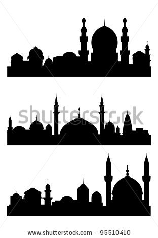 312x470 Islamic City Silhouettes For Architecture Design. Vector