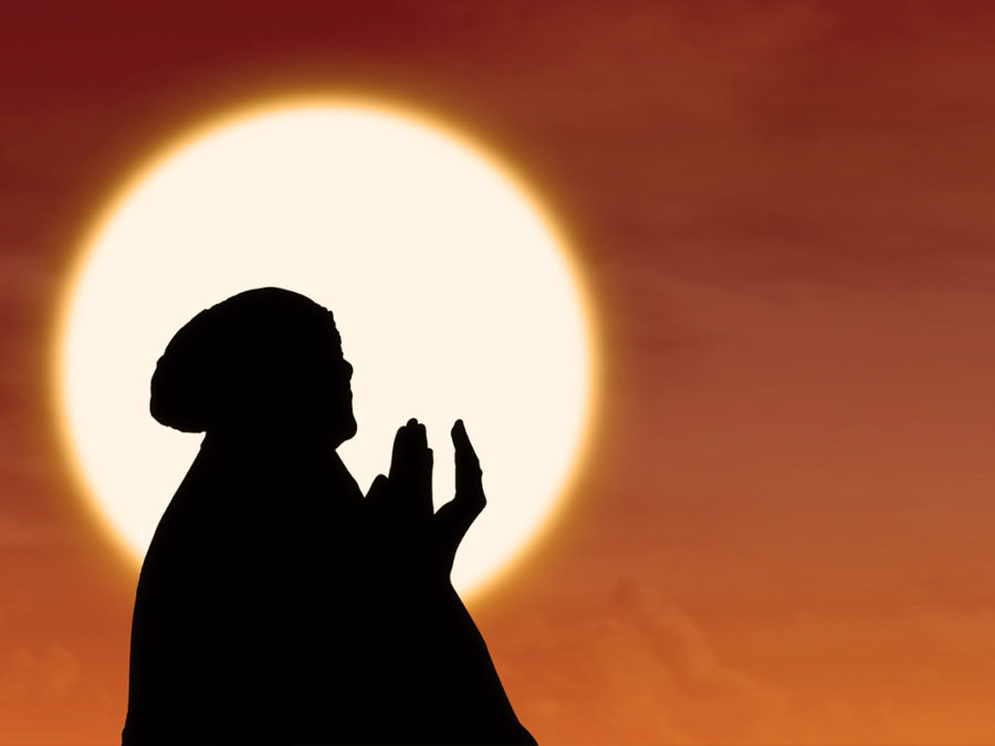 Muslim Woman Praying Silhouette