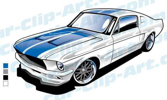 576x346 1967 Ford Mustang Vector Art Car Drawings, Ford Mustang
