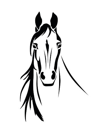 359x479 Silhouette Of A Horse Head Front View Stock Vectors