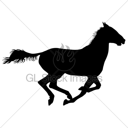 500x500 Silhouette Of Black Mustang Horse Vector Illustration Gl Stock