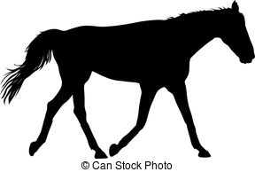 288x194 Silhouette Of Black Mustang Horse Vector Illustration. Vector