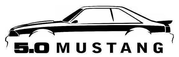 576x184 1987 93 Ford Mustang Fox Body 5.0 Outline Silhouette Art Wall