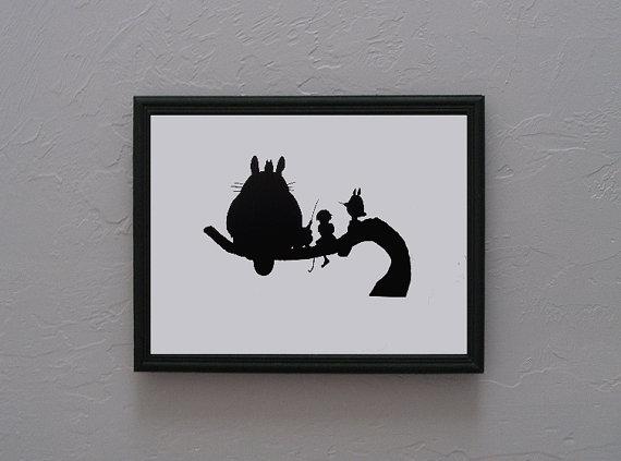 570x423 My Neighbor Totoro Hand Cut Paper Art Black Silhouette Paper