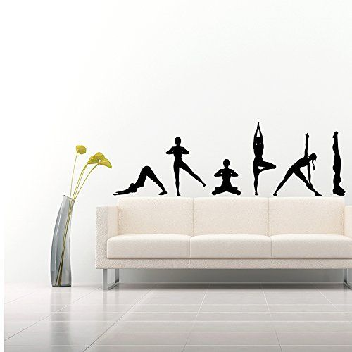 500x500 Wall Decals Yoga Poses Silhouettes Spelled Position Yoga Studio