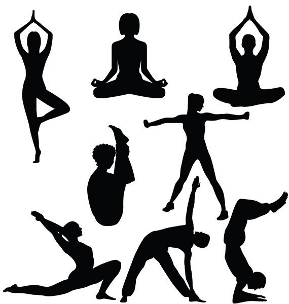570x600 Yoga Silhouette Svg,dxf, Png Yoga Girl And Boy Clipart