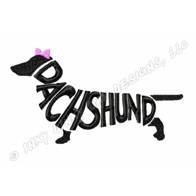 400x400 Dachshund Silhouette Breed Name Embroidered T Shirt Sew Dog Crazy
