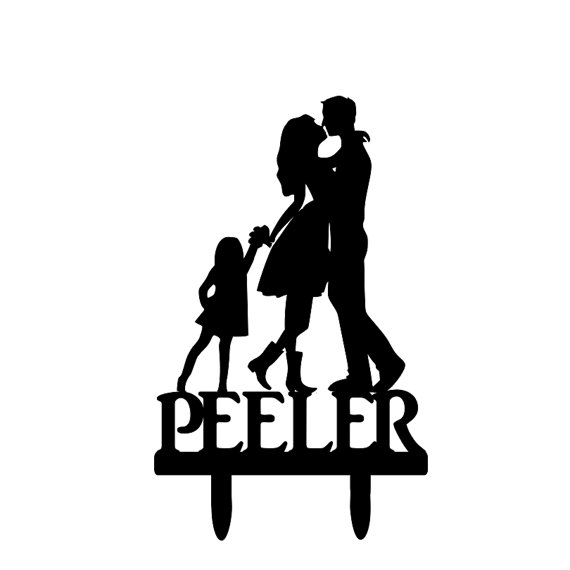 570x570 Customized Name Bride And Groom Silhouette Wedding Cake Topper
