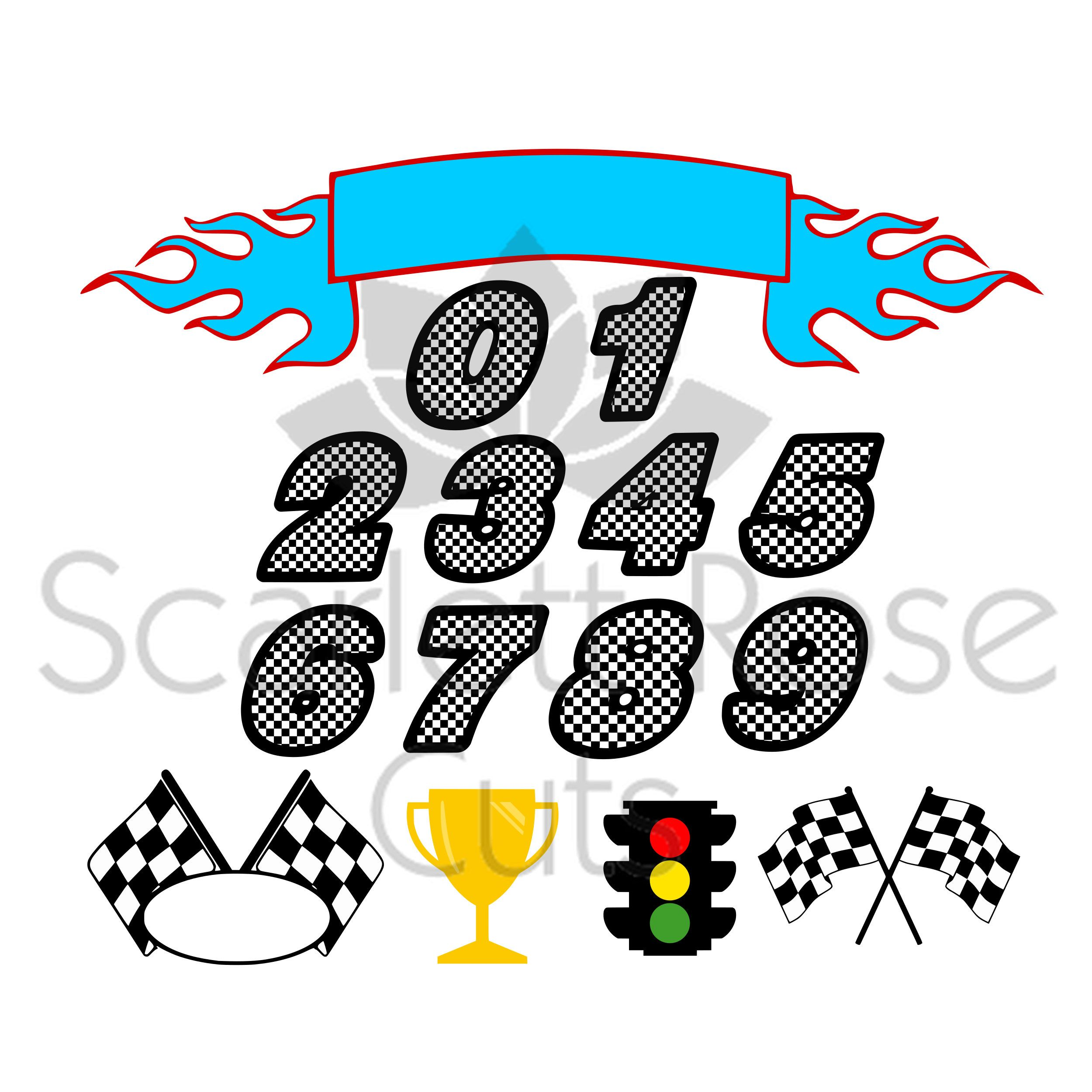 2500x2500 Checkered Racing Birthday Numbers Svg Cut File For Silhouette