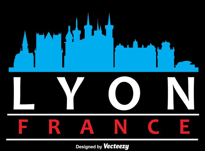 665x490 Lyon City Skyline Silhouette Vector
