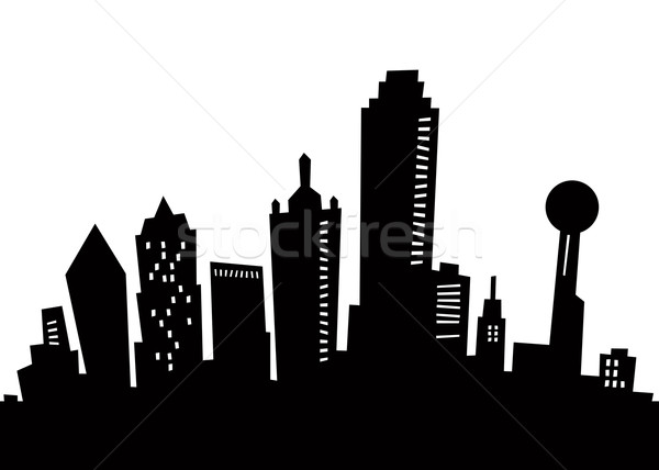 600x428 Cartoon Dallas Skyline Silhouette Stock Photo Brett Lamb (Blamb