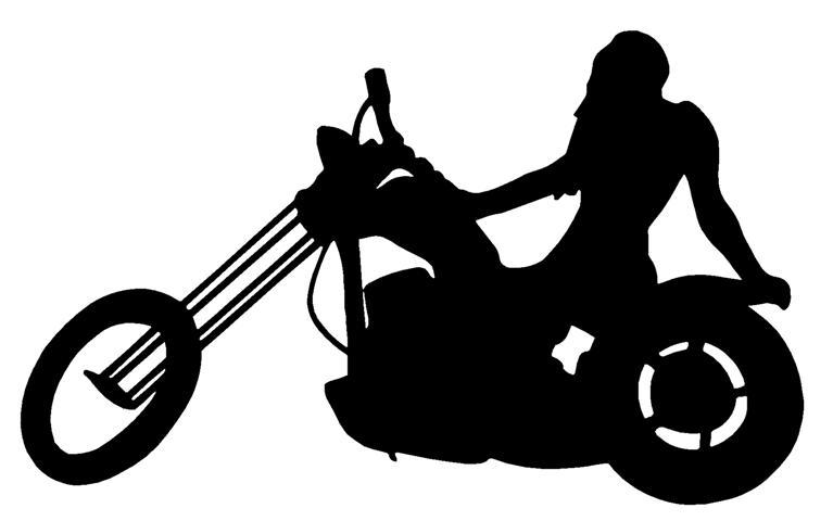 767x480 Girl On Chopper Silhouette Decal Sticker