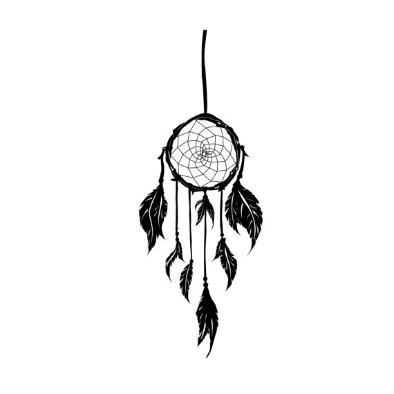 570x570 Native American Dream Catcher Urban Silhouette Wall Decal