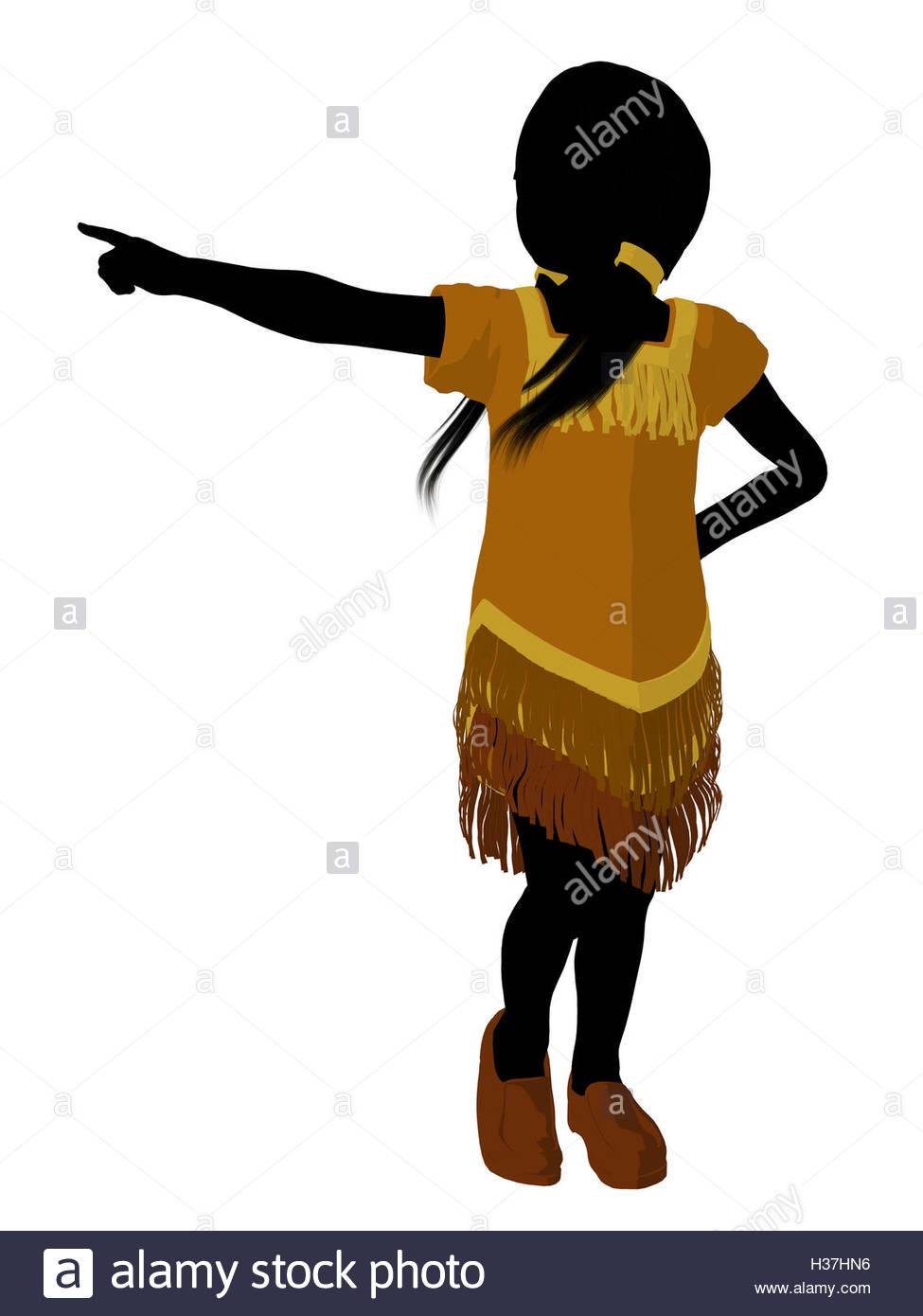 975x1390 Native American Indian Art Illustration Silhouette Stock Photo