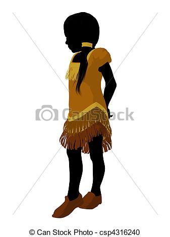 337x470 Native American Indian Art Illustration Silhouette. Native