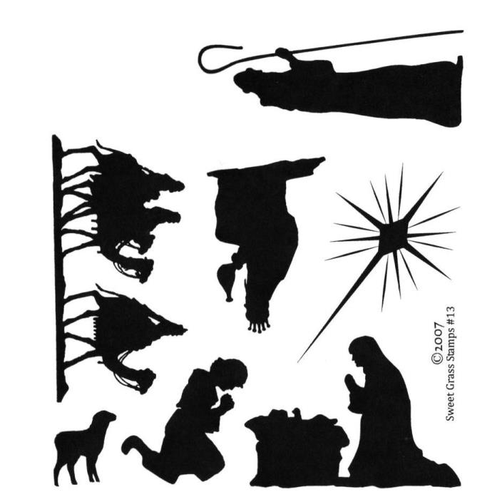 704x704 Christmas Nativity Silhouettes Unmounted Rubber Stamp Set Of 7